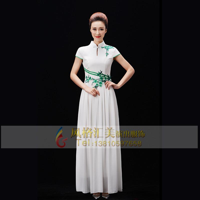 新款白色长裙合唱服装