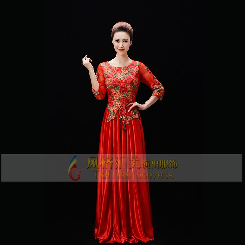 女士红色合唱演出服装设计