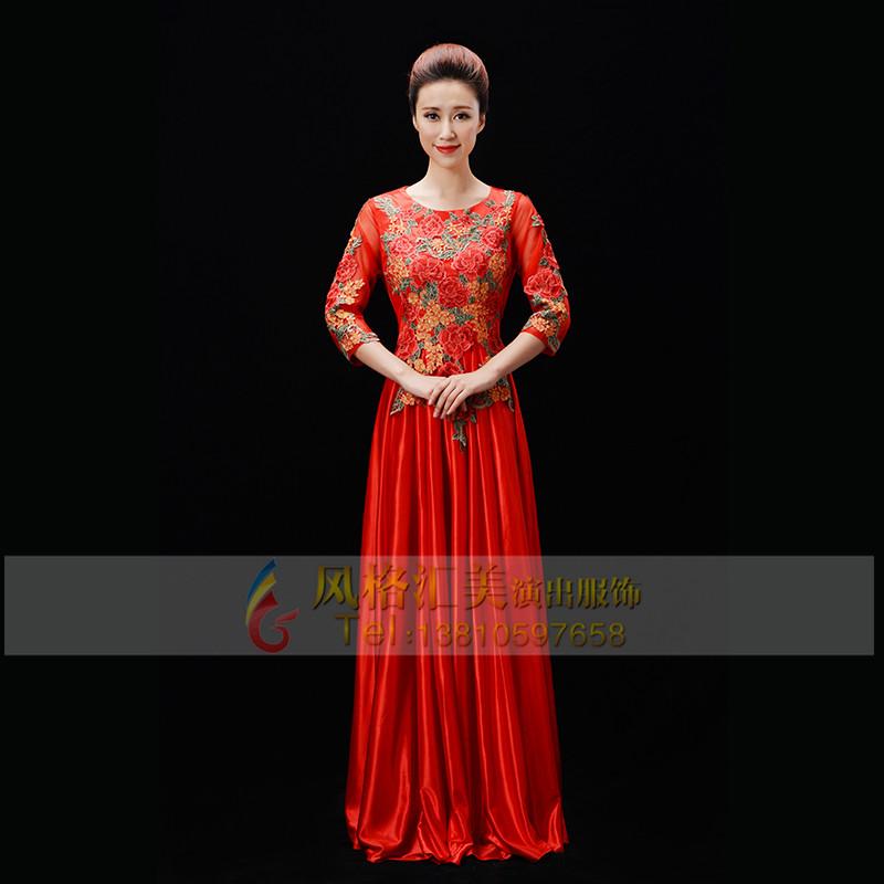 新款红色合唱服装定制