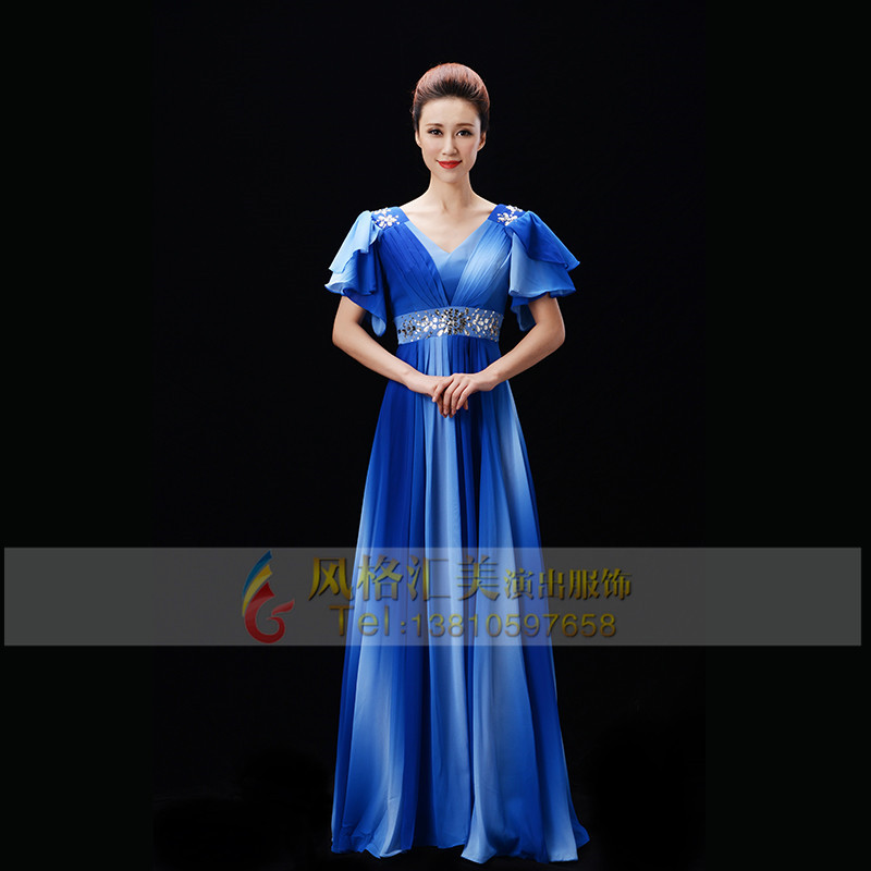 女士蓝色合唱服装定制
