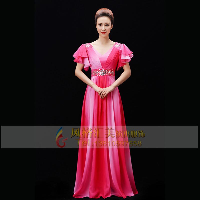 女士粉色合唱服装定制