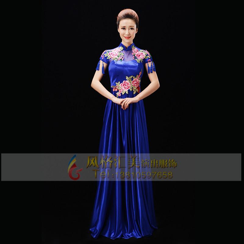 新款蓝色合唱服装设计