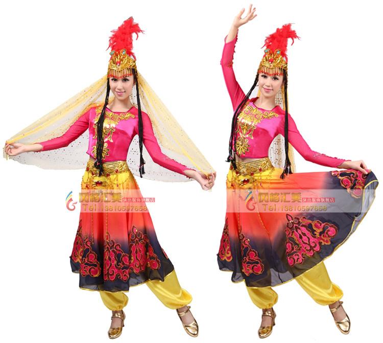 风格汇美新疆维吾尔族舞蹈服装女 新疆舞蹈演出服长裙