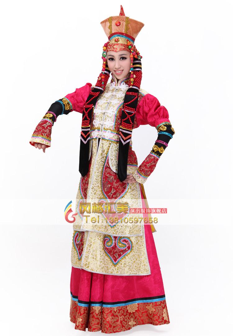 少数民族服装 出租蒙古族演出服装 舞蹈女裙袍舞台服装新款租赁