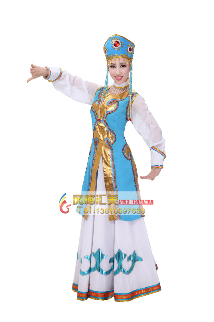 风格汇美 蒙古族演出服装 出租舞蹈服 租赁蓝色简约演出服 舞台装