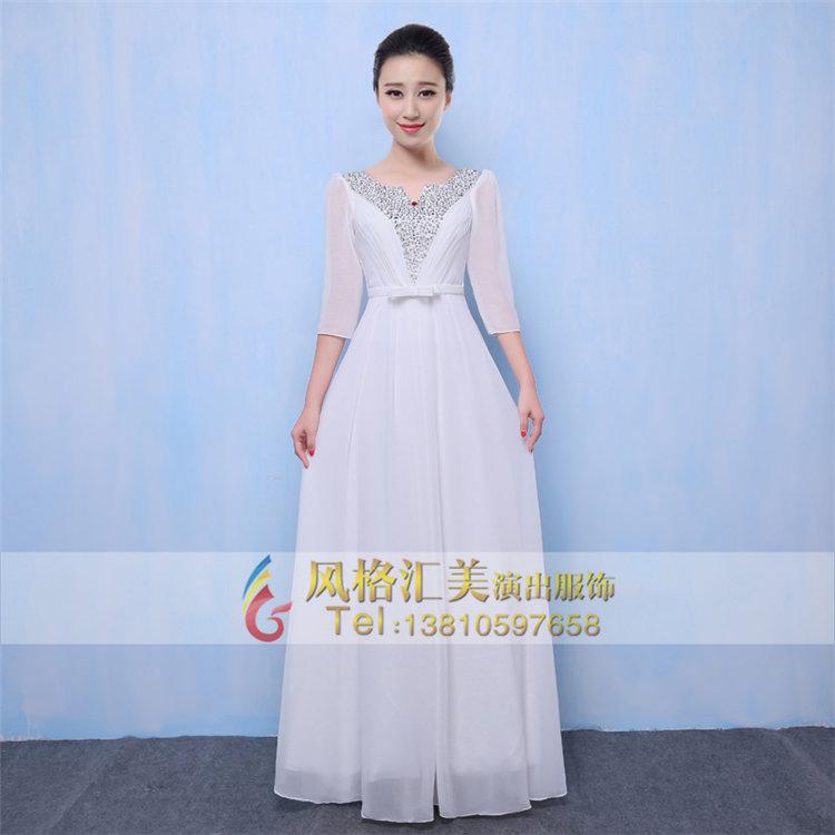 女士合唱舞台服装长裙定制合唱团演出服装设计
