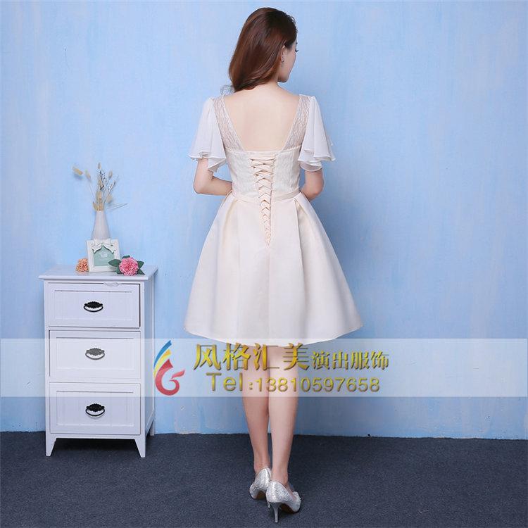 新款合唱服装短裙青少年大合唱演出服装女小礼服设计
