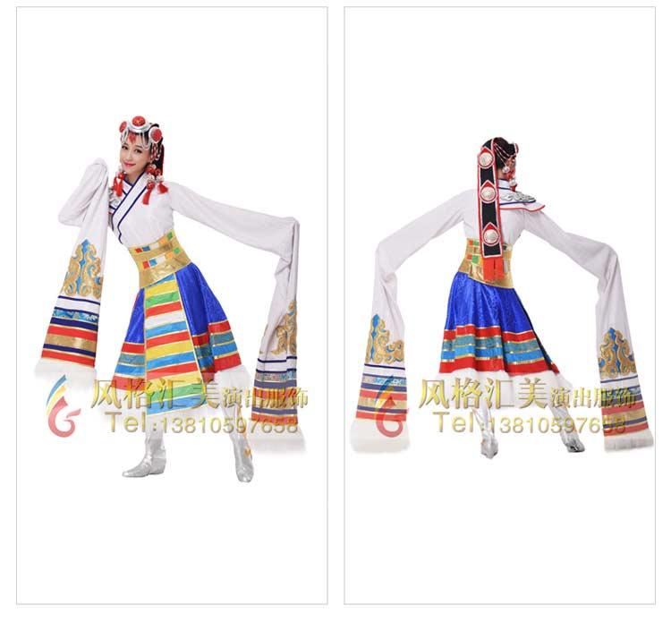 新款藏族舞蹈服装少数民族舞蹈服定制