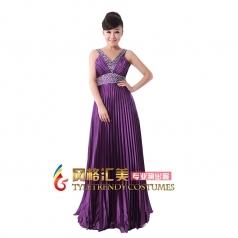 女式紫色长款无袖合唱服装压褶带钻大合唱服装多色定制