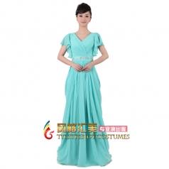 女式雪纺长款天蓝色合唱服装