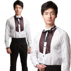 男士白色合唱衬衫,男士合唱服装定做工厂_风格汇美演出服饰