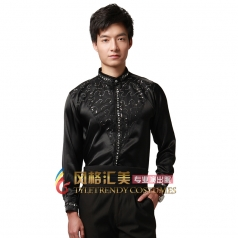 男士黑色合唱衬衫,男士合唱服装定做工厂_风格汇美演出服饰