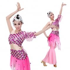 2014女士新款粉红色亮片傣族舞蹈演出鱼尾裙 民族舞蹈演出服