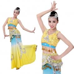 风格汇美 傣族舞蹈服装 少数民族舞台装 包臀长裙舞蹈服定制