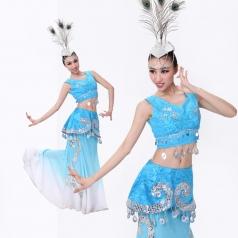 傣族舞蹈服装 女士蓝色孔雀舞表演服 傣族舞台演出服装