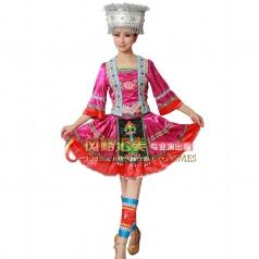 苗族舞蹈服演出服 少数民族舞蹈 民族舞台表演服装定制