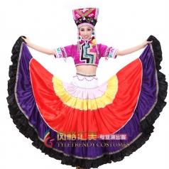 新款紫色彝族舞蹈大摆裙 开场舞演出服装 舞台大舞裙服装
