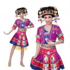 少数民族舞蹈服装女 苗族民族舞蹈演出服 2014新款表演服定制