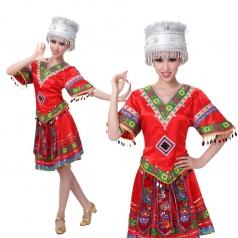 苗族侗族服装银饰帽子 民族舞舞蹈演出服 苗族舞台表演服定制