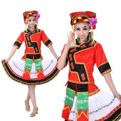 民族舞蹈服装 彝族舞蹈演出服 少数民族舞蹈服 新款定制
