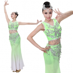 北京出售新款浅绿色傣族舞蹈演出服装 舞蹈表演服装可定制