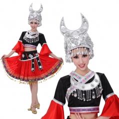 新款少数民族演出服女装 苗族舞蹈演出服 瑶族演出服装定制