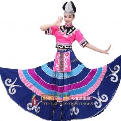 彝族民族舞蹈演出服装 彝族大摆裙540度舞蹈裙套装特价可定做