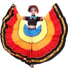 彝族舞蹈大摆裙 出售民族舞蹈演出服装 开场大摆裙火把节服装
