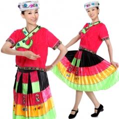 风格汇美 苗族彩虹裙舞蹈服女装 民族舞蹈演出服苗族裙百褶裙