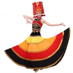 出售彝族舞蹈演出服 彝族舞蹈服装大摆裙 开场舞大摆裙可定做