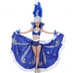 风格汇美 女士开场舞大摆裙 租赁蓝色羽毛舞蹈演出服 表演舞台装