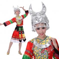 大红色苗族服装 民族舞蹈演出服装 苗族舞台表演服女定制