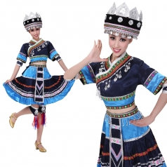 苗族民族舞蹈演出服装 蓝色舞蹈演出服 秧歌表演服女装可定制