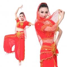 红色印度舞蹈服装 新疆演出服装印度舞民族演出服 女装肚皮舞