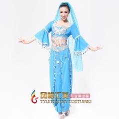 天蓝印度舞蹈演出服 出售肚皮舞服装 民族舞蹈舞台演出服装女