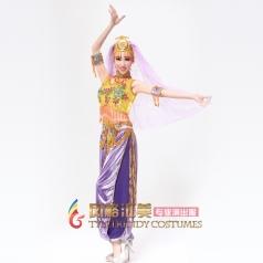 风格汇美 紫色印度舞蹈服 现代舞肚皮舞演出服装 印度舞表演服装