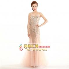 2014新款粉色礼服 抹胸鱼尾长款主持服 新娘结婚纱敬酒宴会晚礼服