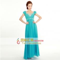 2014新款韩版V领婚纱礼服 优雅新娘伴娘晚礼服 长款天蓝敬酒服