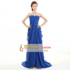 2014新款晚宴礼服 新娘结婚长款蓝色抹胸中腰敬酒服 主持人服装