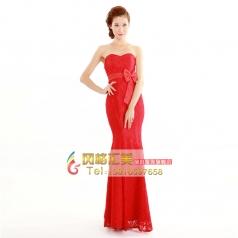 2014包邮特价女士红色连衣裙结婚礼服 抹胸鱼尾晚礼服 新娘敬酒服