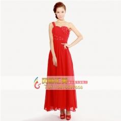 2014新款包邮女士长款结婚礼服 大红新娘装 斜单肩雪纺晚礼敬酒服