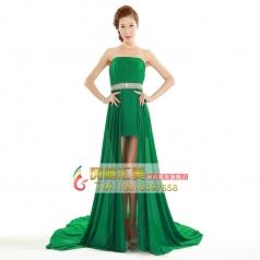 新款前短后长拖尾绿色礼服 新娘结婚纱敬酒晚装 女士回门服装