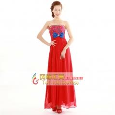 新娘时尚雪纺女士结婚纱 齐地优雅礼服 秋季红色长款敬酒晚礼服