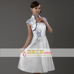风格汇美 2013新款连衣裙 白色青花瓷旗袍 伴娘服装 舞台演出服