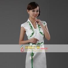 风格汇美 白底绿青花旗袍裙 长款修身优雅旗袍 奥运旗袍结婚旗袍