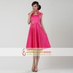 风格汇美立领短袖合唱服 2013新款玫红色奥运旗袍 舞台表演连衣裙