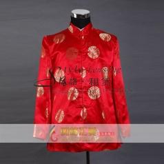 红色唐装 男士大褂 年会服装定制