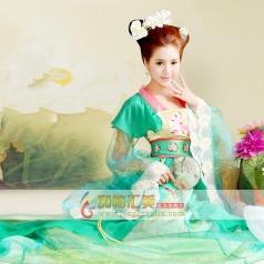 蓝色古代服装 女士成人古装 唐代公主宫女服装_风格汇美演出服饰