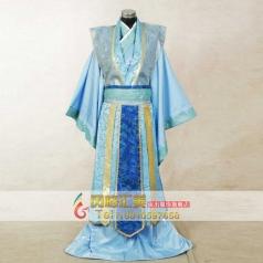 男士古代服装 天蓝色古装 大臣服装定制