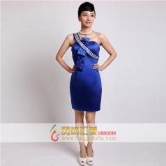 女士短款礼服 宝蓝色单肩小礼服